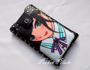 "Housse samsung galaxy,Iphone,portable""Manga""image de fille japonaise,simili cuir noir"