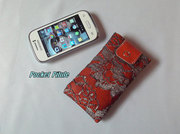 "Etui samsung galaxy,Iphone,portable""Indi2""cuir saumon orangé,dentelle gris"