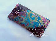 "Housse Iphone 5 ""Collection japonaise""tissu vert,violet,or,simili cuir noir"