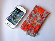 "Etui samsung galaxy,Iphone,portable""Indi""dentelle gris,orange,couleurs pétillantes"