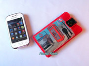 "Etui samsung galaxy,Iphone,portable""Ambiance London""feutrine épaisse rouge,simili cuir noir"